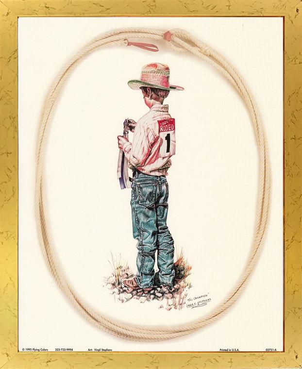 The Champion Western Rodeo Cowboy Wall Decor Golden Framed Art Print Poster (18x24)