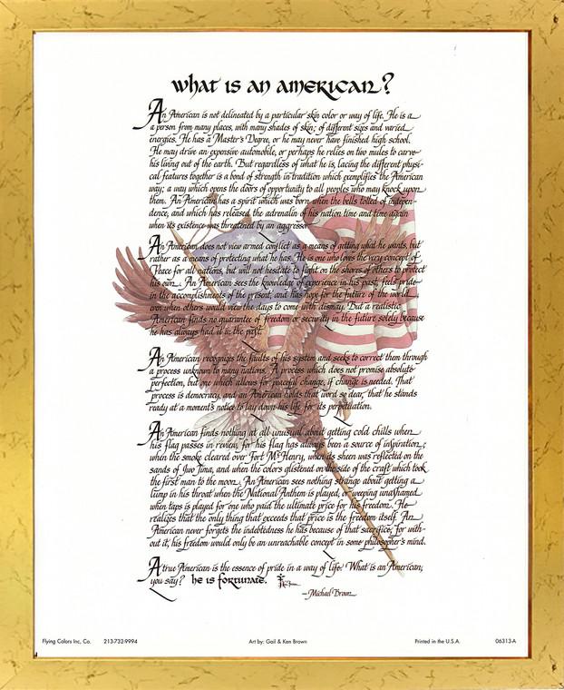 """""""What Is an American"""" Motivational & Inspirational Wall Decor Golden Framed Art Print Poster (18x24)"""