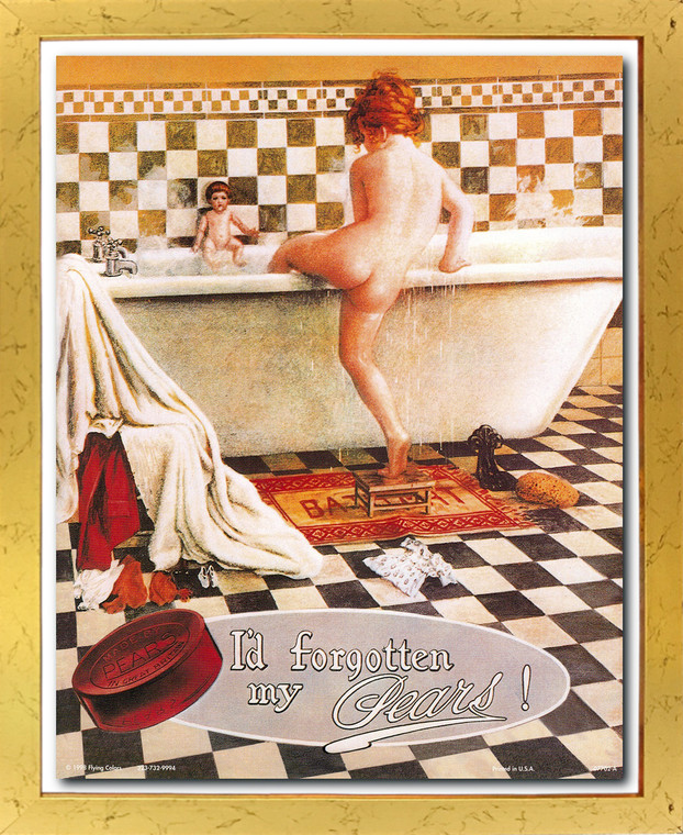 Vintage Forgotten My Pears Soap Ad Wall Décor Golden Framed Art Print Poster (18x24)