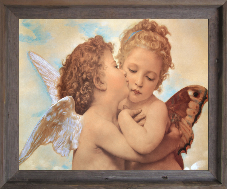 William-Adolphe Bouguereau the First Kiss Religious Wall Decor Barnwood Framed Art Print Poster (19x23)