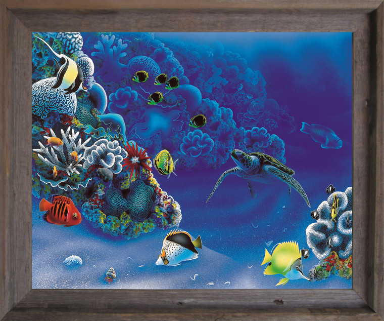 Tropical Fish And Tortoise (Turtle) Underwater Ocean Animal Barnwood Framed Art Print Poster (19x23)