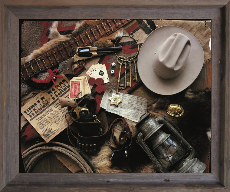Old West Montage Stagecoach Western Wall Decor Barnwood Framed Art Print Poster (19x23)