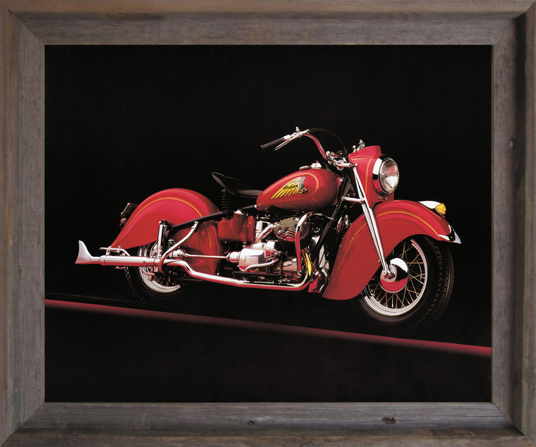 Vintage Red Indian Motorcycle Road master Wall Decor  Barnwood Framed Art Print Poster (19x23)