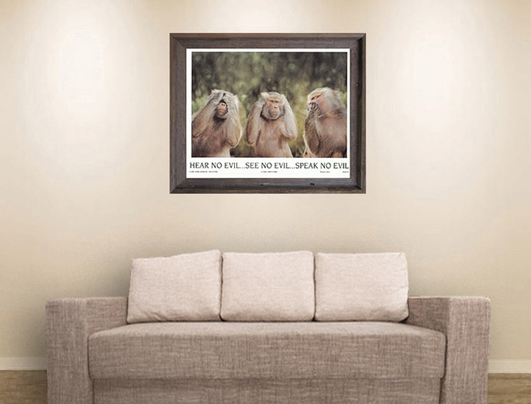Monkeys Hear No Evil See No Evil Speak No Evil Barnwood Framed Art Print Poster (19x23)