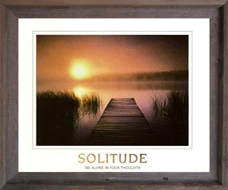 The Solitude of the Sea Sunset Inspirational Nature Wall Decor Barnwood Framed Art Print Poster (19x23)