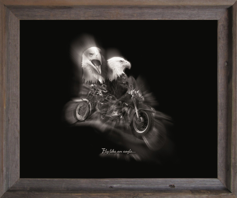 """Black and White Motorcycle """"Fly Like an Eagle"""" Wall Decor Barnwood Framed Art Print Poster (19x23)"""