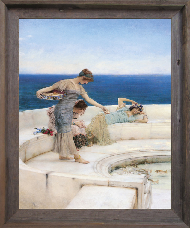 Silver Favorites, 1903 Sir Lawrence Alma-Tadema Wall Decor Art Barnwood Framed Print Poster  (19x23)