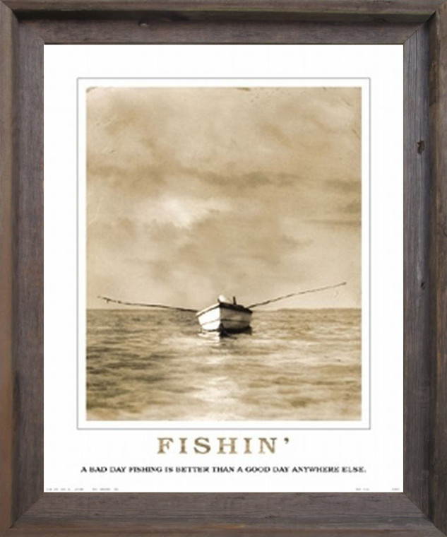 Impact Posters Gallery Framed Wall Decor Good Day for Fishing Under Clouds Boat Motivational Barnwood Picture Art Print (19x23)