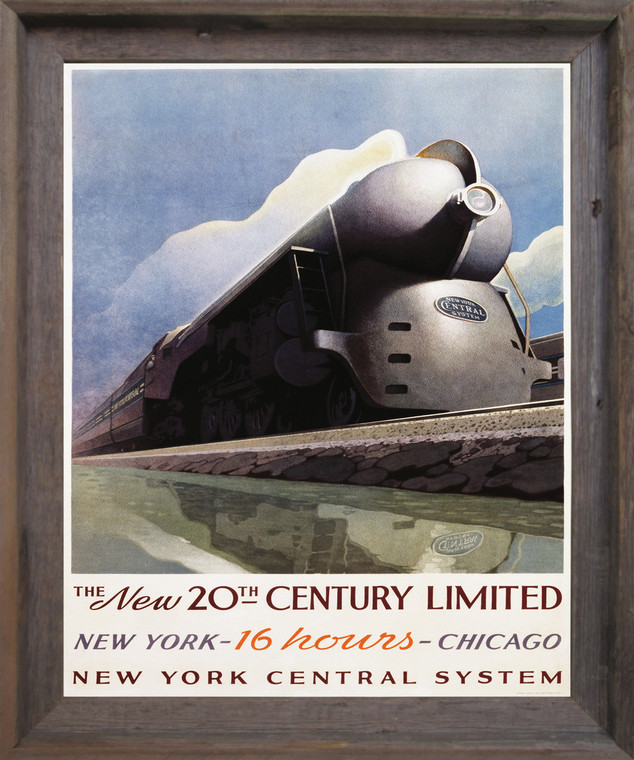 Vintage New York Central Locomotive Train Wall Décor Barnwood Framed Art Print Poster (19x23)