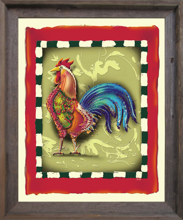 Colorful Chicken Rooster 2 Still Life Animal Wall D??cor Barnwood Framed Art Print Poster (19x23)