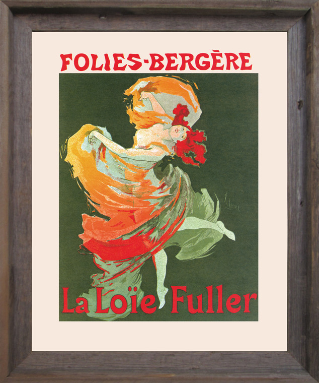 Fashion Girl Dance Dancing La Loie Fuller Folies Bergere Vintage Wall Decor Barnwood Framed Art Print Poster (19x23)