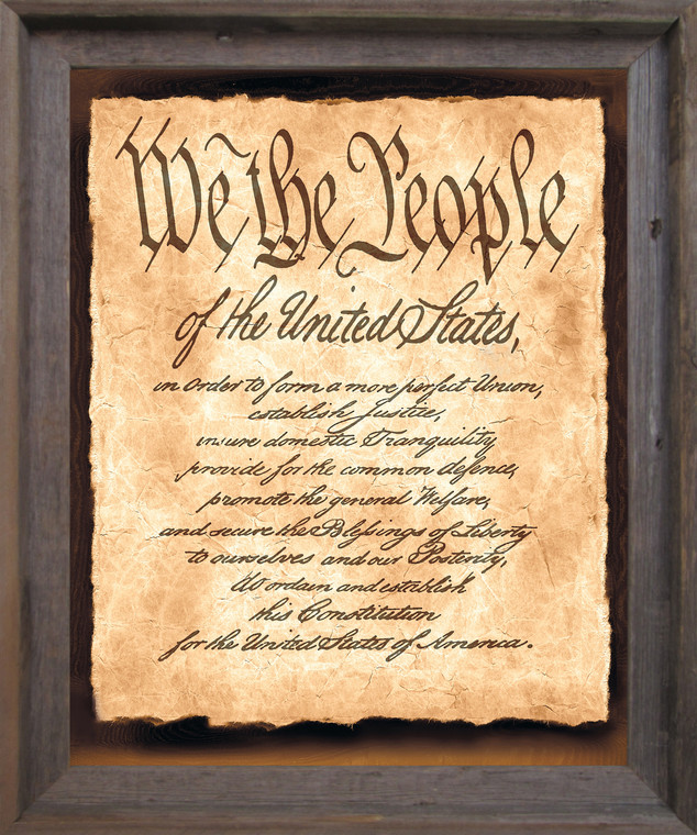 """Constitution of the United States """"We the People of the United States"""" Wall Decor Barnwood Framed Art Print Poster (19x23)"""
