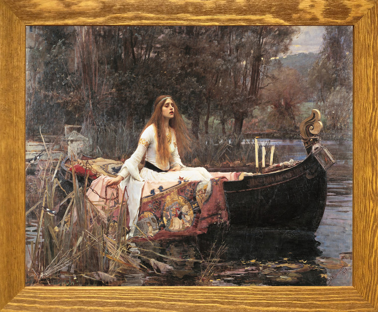 The Lady Of Shalott John Waterhouse Boat Brown Rust Framed Art  Print Poster (19x23)