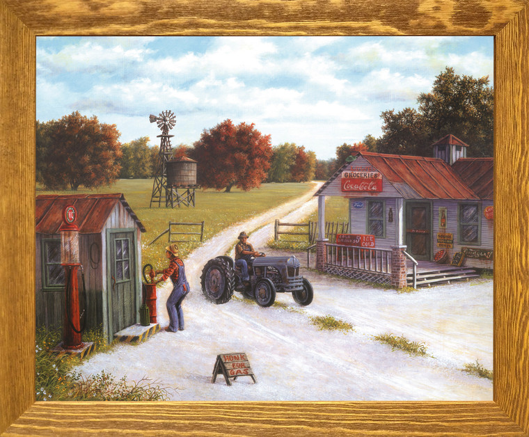 Vintage Gas Station Country Coca Cola Store Painting Landscape Wall Décor Brown Rust Framed Art Print Poster (19x23)