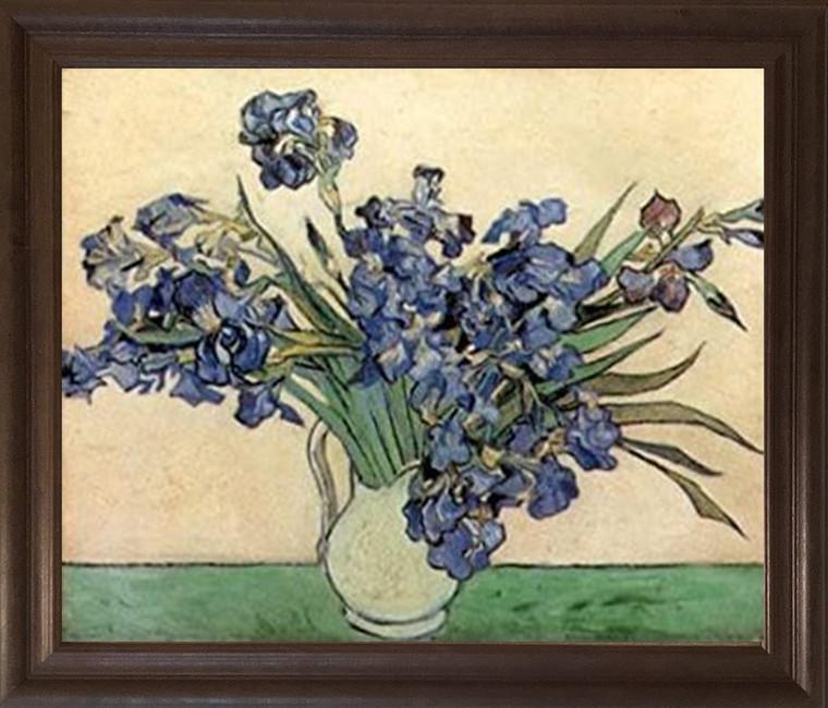 Vincent Van Gogh Iris Flower in vase Floral Brown Rust Framed Art Print Poster (19x23)