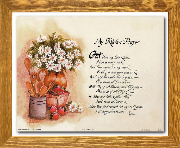 My Kitchen Prayer Wall Décor Brown Rust Framed Art Print Poster (19x23)