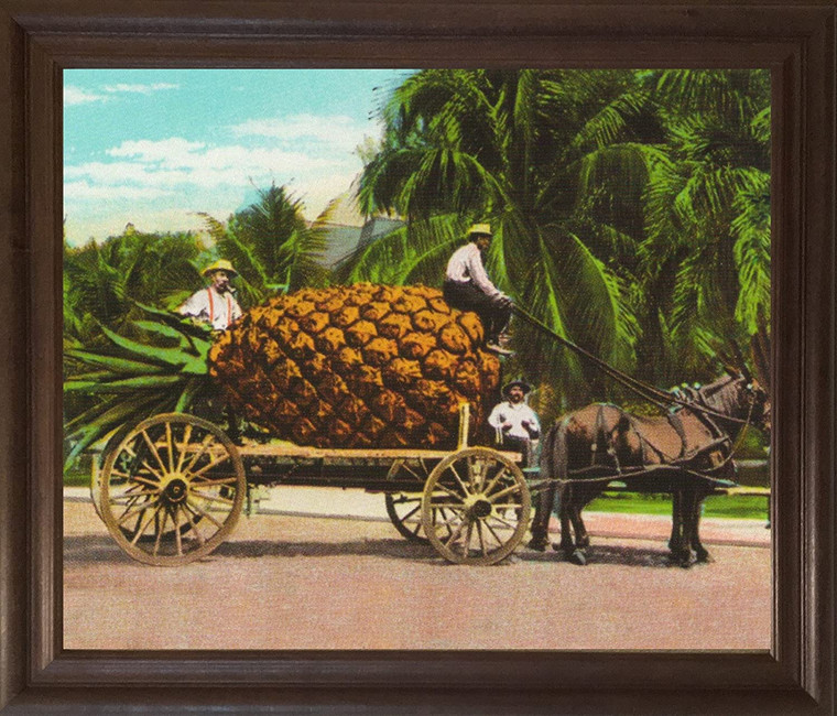 Pineapple Fruit Cart and Trees Wall Decor Brown Rust Framed Art Print Poster (19x23)