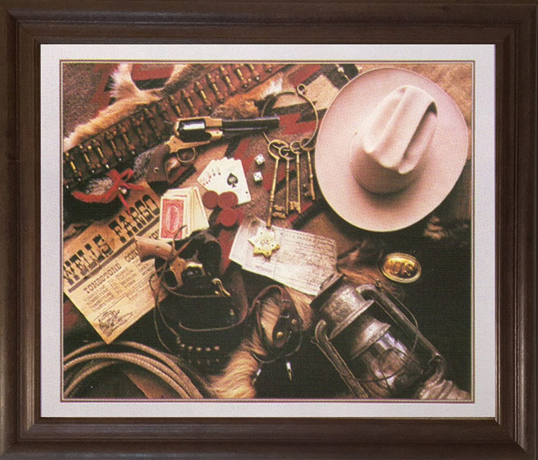 Old West Montage Stagecoach Western Wall Decor Brown Rust Framed Art Print Poster (19x23)