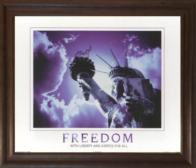 Freedom with Liberty and Justice for All Inspirational  Brown Rust Framed Art Print Poster (19x23)
