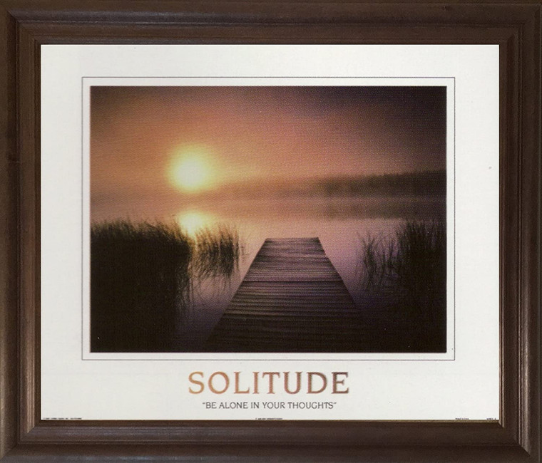 The Solitude of the Sea Sunset Inspirational Nature Wall Decor Brown Rust Framed Art Print Poster (19x23)