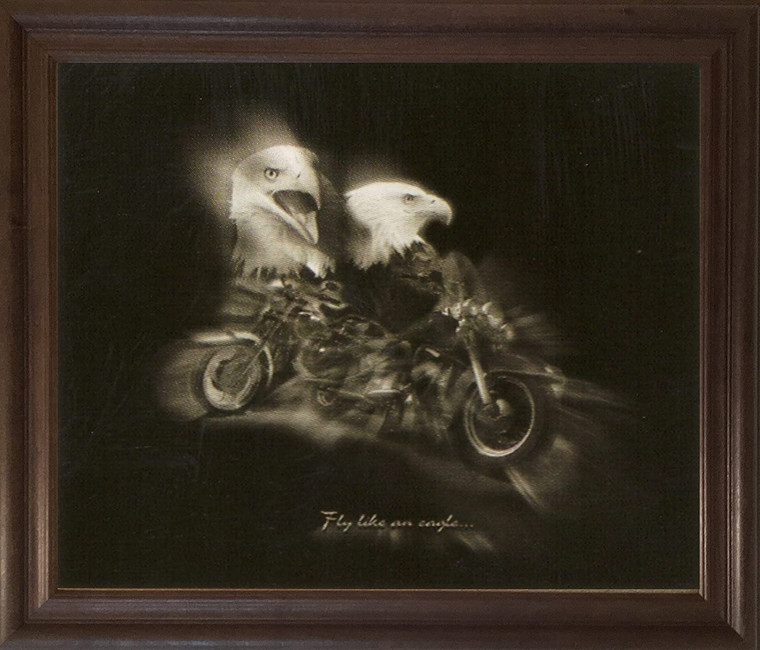 Black and White Motorcycle Ÿ??Fly Like an EagleŸ? Wall Decor Brown Rust Framed Art Print Poster (19x23)