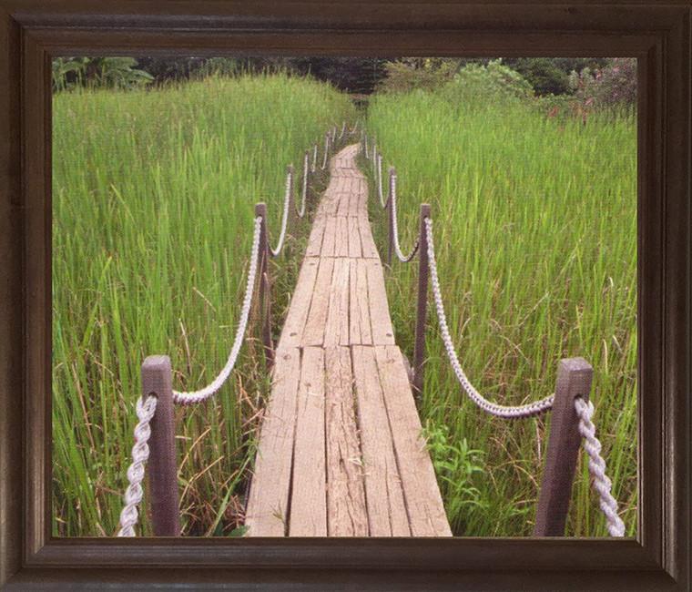Green Field Wooden Path Landscape Wall Decor Brown Rust Framed Art Print Poster (19x23)