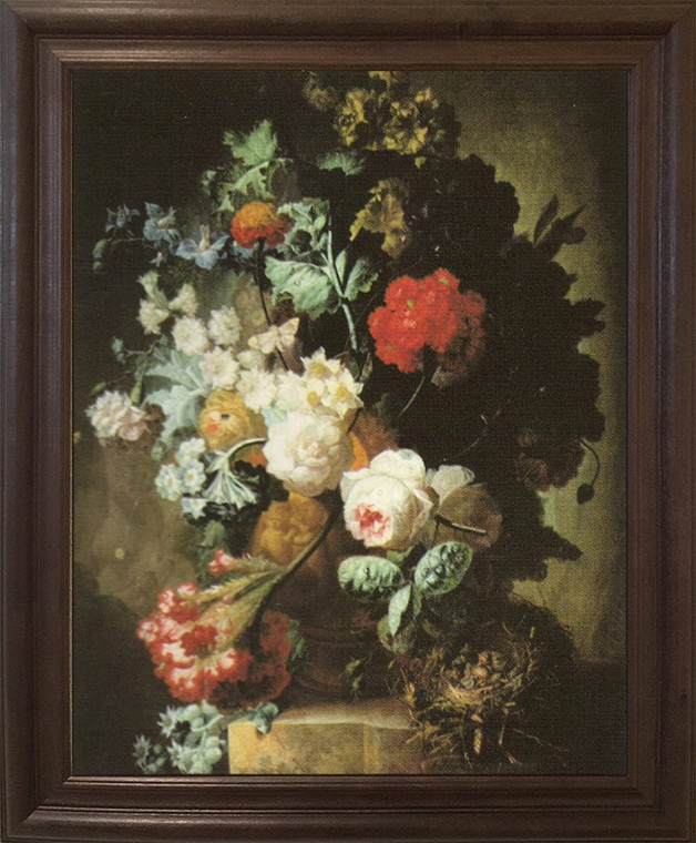 Pitcher Of Colorful Flowers Floral Still life Wall Decor Brown Rust Framed  Art Print Poster  (19x23)