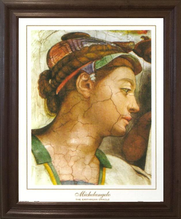 Michelangelo The creation of Adam Sistine Chapel Wall Decor Brown Rust Framed Art Print Poster (19x23)