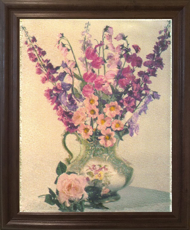 Colorful Pink And Purple Flowers In Vase Floral Wall Decor Brown Rust Framed Art Print Poster (19x23)