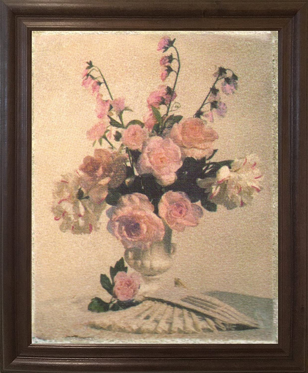 Bunch Of Pink Rose In Vase Flower Floral Wall Decor Brown Rust Framed Art Print Poster (19x23)