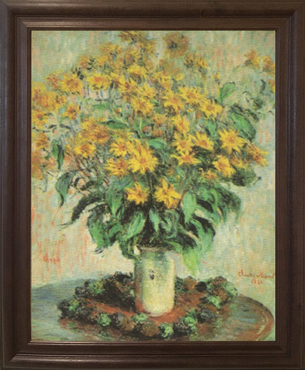 Claude Monet Sunflowers Floral Wall Decor Brown Rust Framed Art Print Poster (19x23)