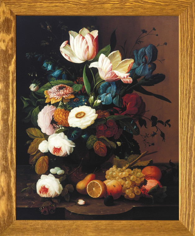 Bunch of Colorful Flowers With Fruits Still Life Wall Decor  Brown Rust Framed Art Print Poster (19x23)