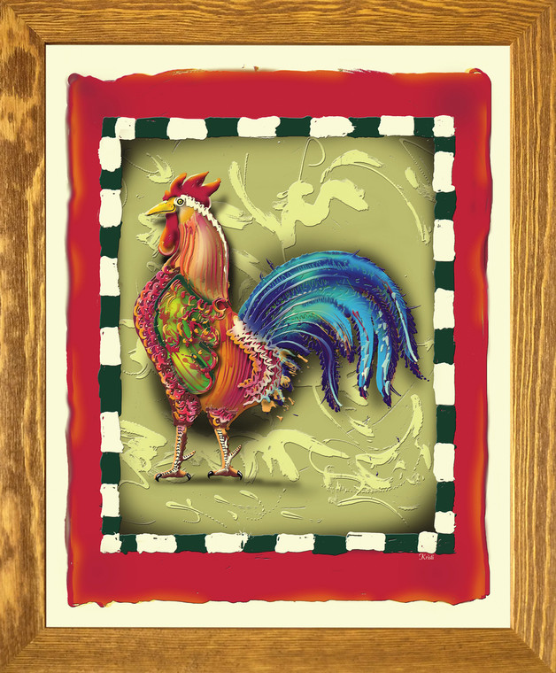 Colorful Chicken Rooster 2 Still Life Animal Wall D??cor Brown Rust Framed Art Print Poster (19x23)