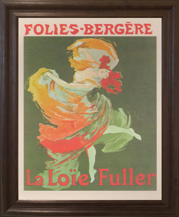 Fashion Girl Dance Dancing La Loie Fuller Folies Bergere Vintage Wall Decor Brown Rust Framed Art Print Poster (19x23)