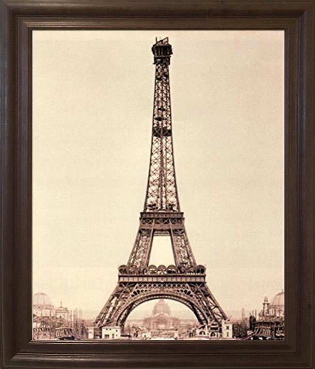 Vintage Paris Eiffel Tower Wall Decor Brown Rust Framed Art Print Poster (19x23)
