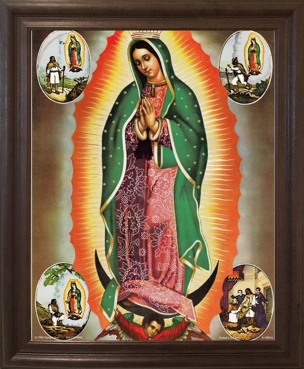 Virgin Mary Our Lady Of Guadalupe Mexican la virgen de  Brown Rust Framed Art Print Poster (19x23)