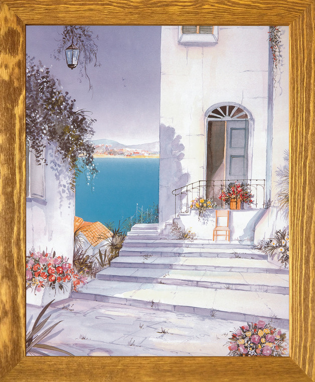 Mediterranean Views Seascape Picture Wall D??cor Brown Rust Framed Art Print Poster (19x23)