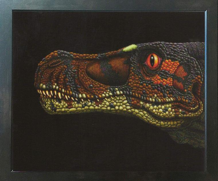 Dinosaur Velociraptor Kids Room Animal Wall Decor Espresso Framed Art Print Poster (18x24)