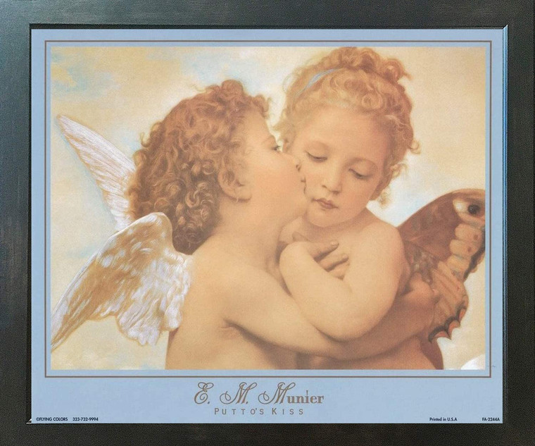 William-Adolphe Bouguereau The First Kiss Wall Decor  Espresso Framed Art Print Poster  (18x24)