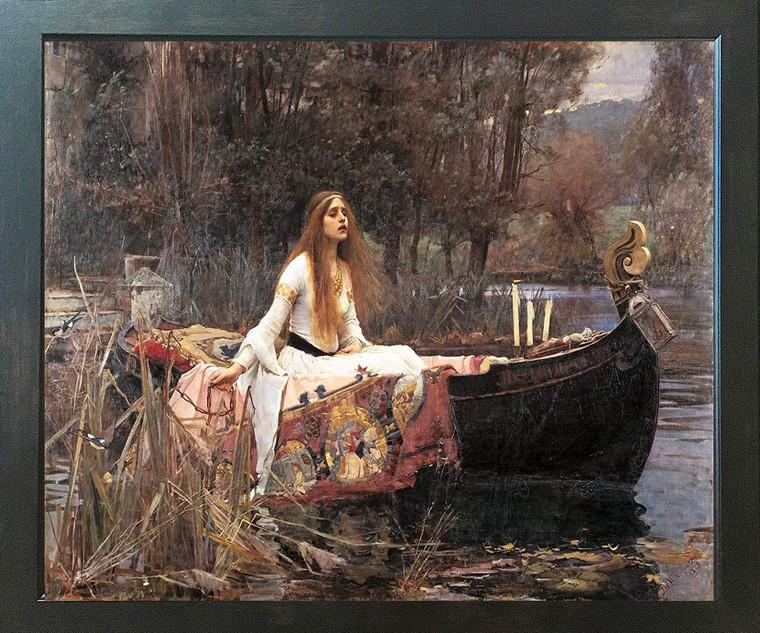 The Lady Of Shalott John Waterhouse Boat Espresso Framed Art  Print Poster (18x24)