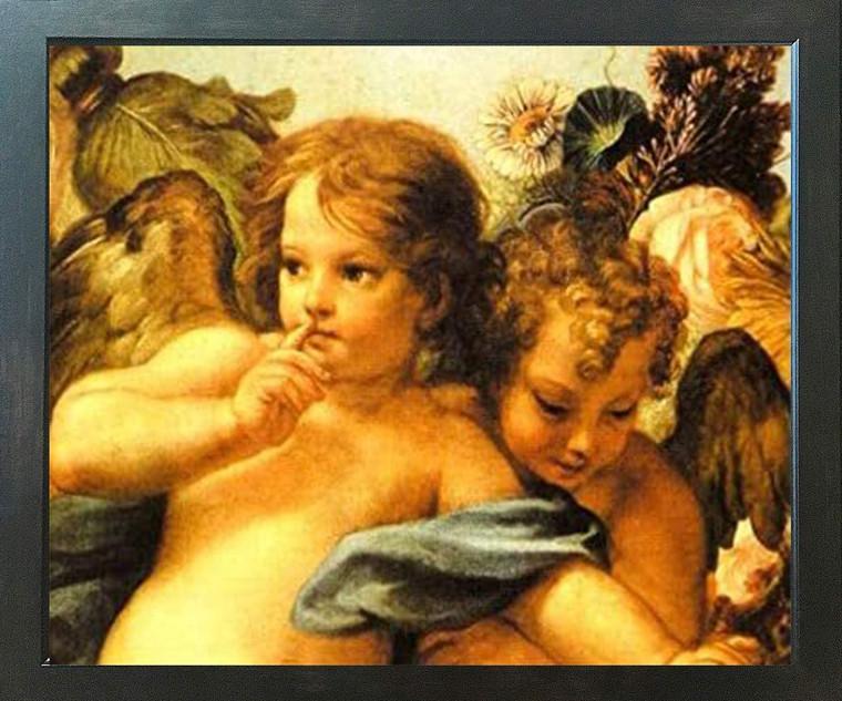 Cherubini Little Angels of Sistine Madonna Raphael Wall Decor Espresso Framed Art Print Poster (18x24)