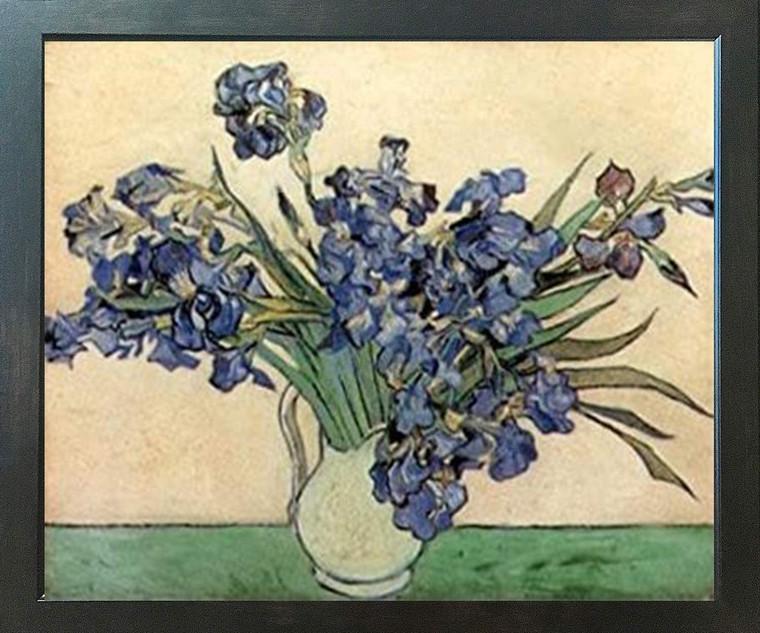 Vincent Van Gogh Iris Flower in vase Floral Espresso Framed Art Print Poster (18x24)
