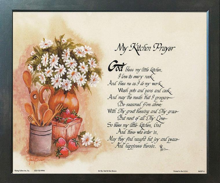 My Kitchen Prayer Wall Decor Espresso Framed Art Print Poster (18x24)