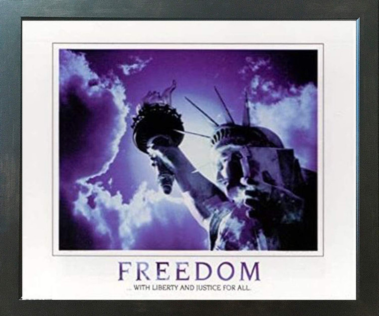 Freedom with Liberty and Justice for All Inspirational  Espresso Framed Art Print Poster (18x24)