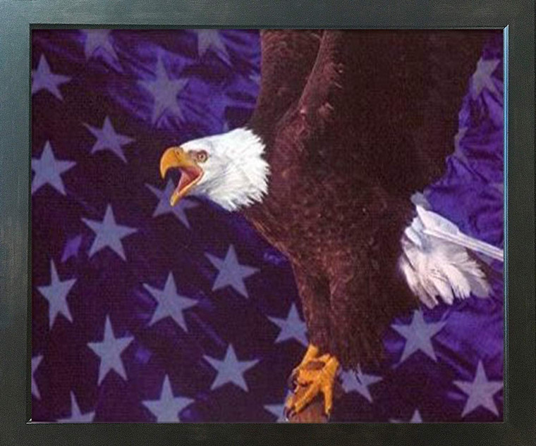 American Bald Eagle Flying Wall Decor Espresso Framed Art Print Poster (18x24)