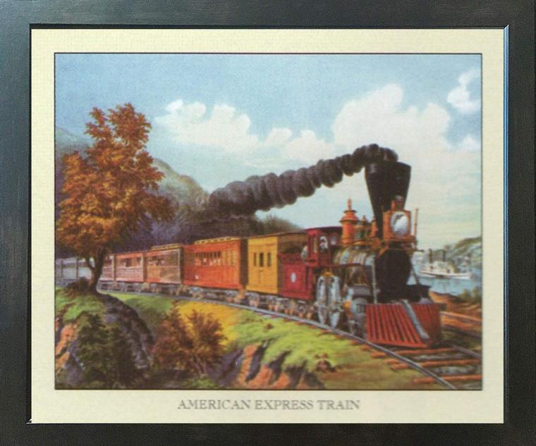 Vintage American Express Train Espresso Framed  Art Print Poster (18x24)