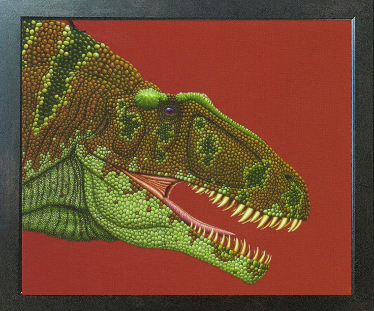 Dinosaur Fine Art Wall Decor Espresso Framed Art Print Poster (18x24)
