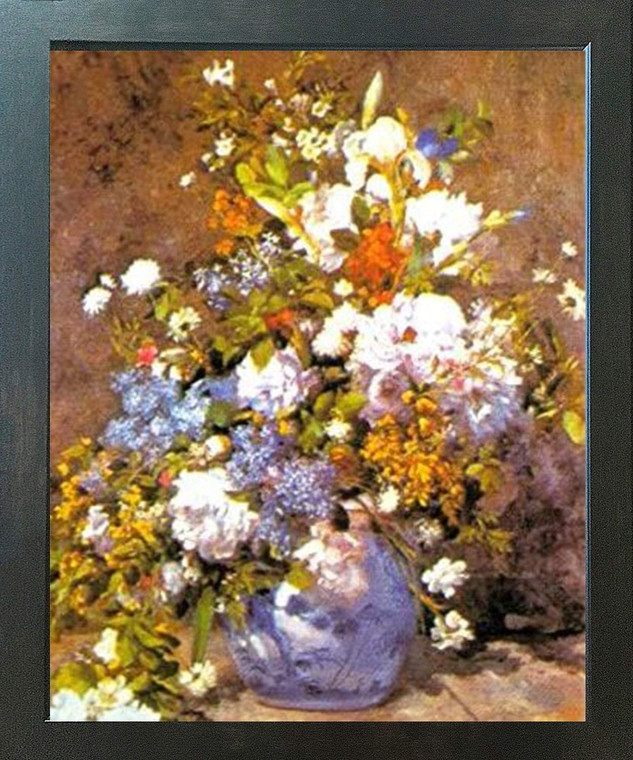 Poster Of Bunch Of colorful Flowers Floral Fine Wall Decor Espresso Framed Art Print Poster(18x24)