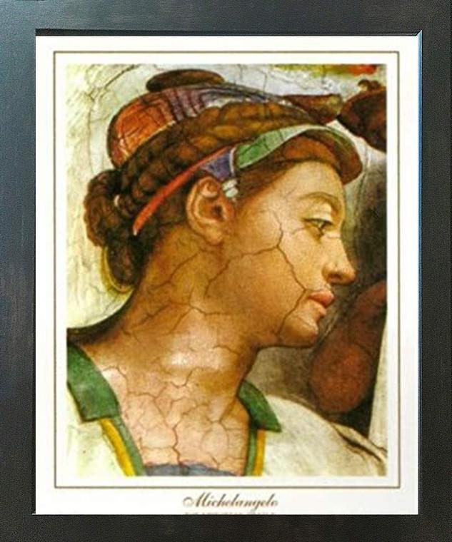 Michelangelo The creation of Adam Sistine Chapel Wall Decor Espresso Framed Art Print Poster (18x24)