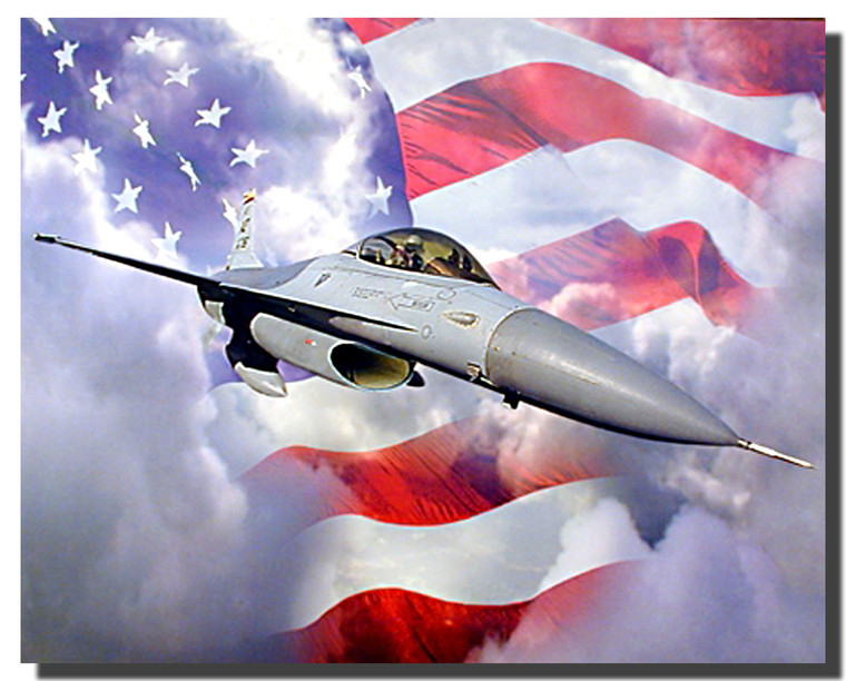 F 16 Falcon With American Flag Poster